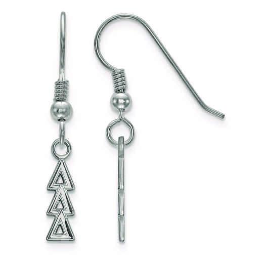 SS026DDD: Strlng Slvr LogoArt Delta Delta Delta Small Dangle Earrings