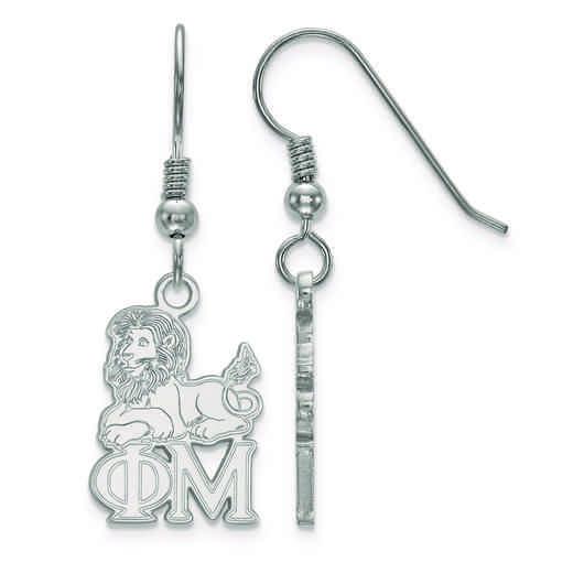 SS037PHM: Strlng Slvr LogoArt Phi Mu Small Dangle Earrings