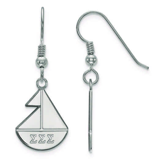 SS037SSS: Strlng Slvr LogoArt Sigma Sigma Sigma Small Dangle Earrings