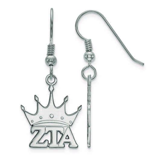 SS037ZTA: Strlng Slvr LogoArt Zeta Tau Alpha Small Dangle Earrings