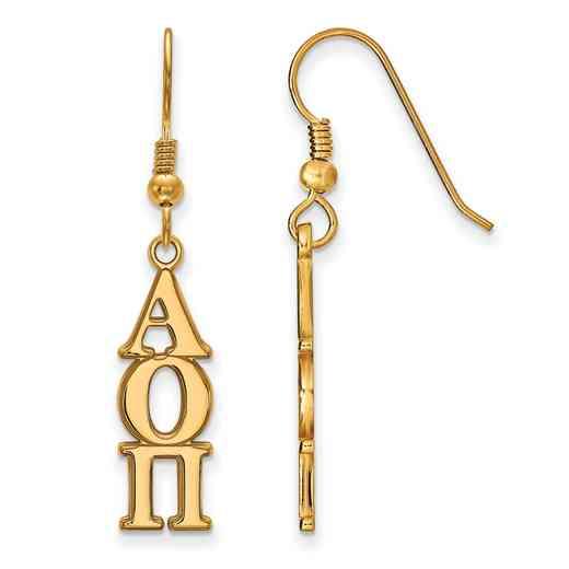 GP004AOP: Strlng Slvr with Gold Plating LogoArt Alpha Omicron Pi Dangle Med Erring