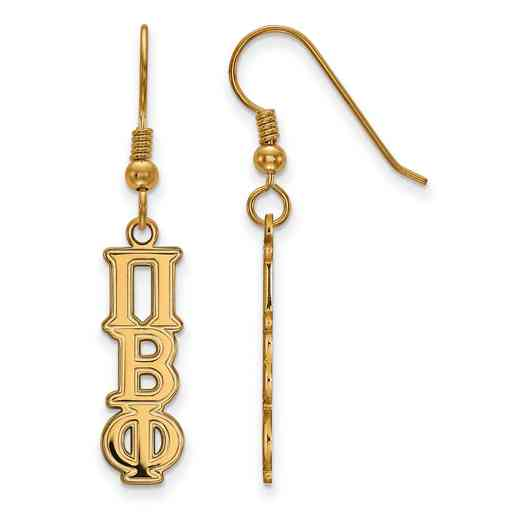 GP004PBP: Strlng Slvr with Gold Plating LogoArt Pi Beta Phi Dangle Sml Erring