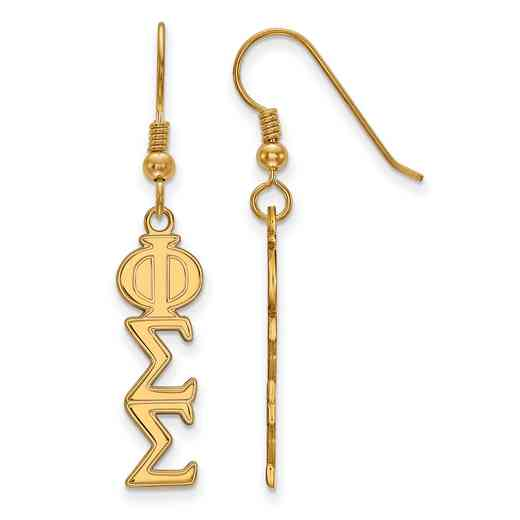 GP004PSS: Strlng Slvr with Gold Plating LogoArt Phi Sigma Sigma Dangle Med Erring