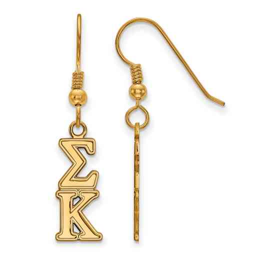GP004SKP: Strlng Slvr with Gold Plating LogoArt Sigma Kappa Dangle Sml Erring