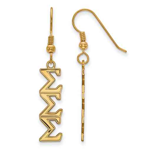 GP004SSS: Strlng Slvr with Gold Plating LogoArt Sigma Sigma Sigma Dangle Med Erring