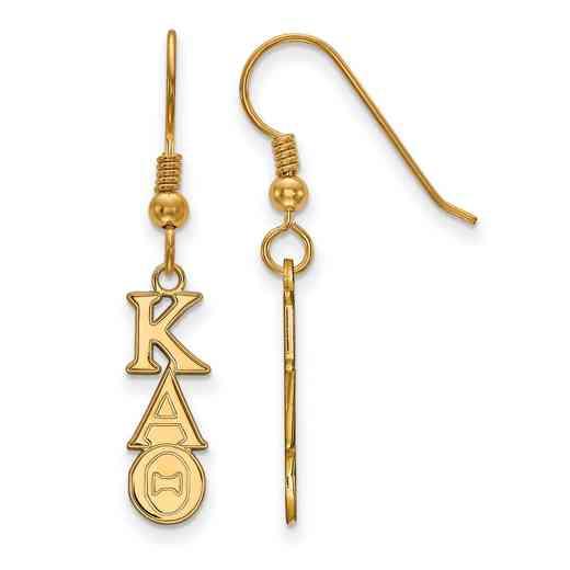 GP026KAT: Strlng Slvr with Gold Plating LogoArt Kappa Alpha Theta XS Dangle Erring