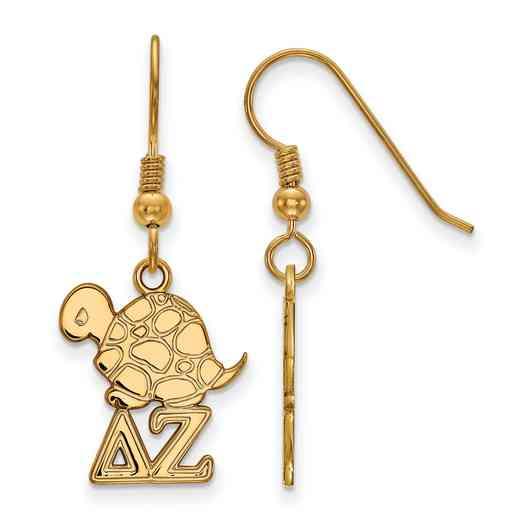 GP037DZ: Strlng Slvr with Gold Plating LogoArt Delta Zeta Sml Dangle Erring