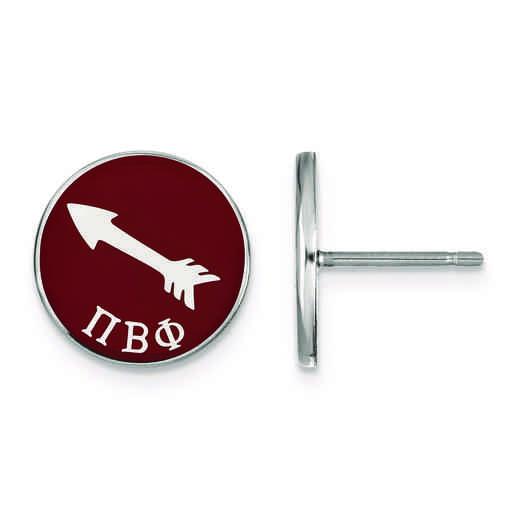 SS046PBP: Strlng Slvr LogoArt Pi Beta Phi Enameled Post Earrings