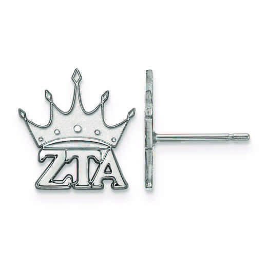 SS038ZTA: Strlng Slvr LogoArt Zeta Tau Alpha XS Post Erring