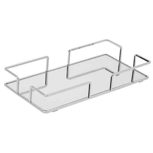 26422-CHR : KEN  Modern Chrome Rectangular Mirror Tray 14x7 -Chrome