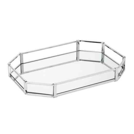 26421-CHR : KEN Octagon Large Vanity Mirror Tray 15x11- Chrome