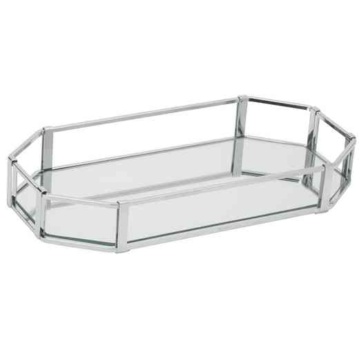 26420-CHR : KEN Octangular Chrome Vanity Mirror Tray 14x7- Chrome