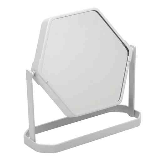2778-WHITE : KEN  6IN MAGNIFICATION HEXAGON VANITY MIRROR-3X- White