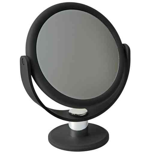 "26450-BLACK : KEN 7"" Vanity Mirror - Rubberized 1x-10x mag- Black"