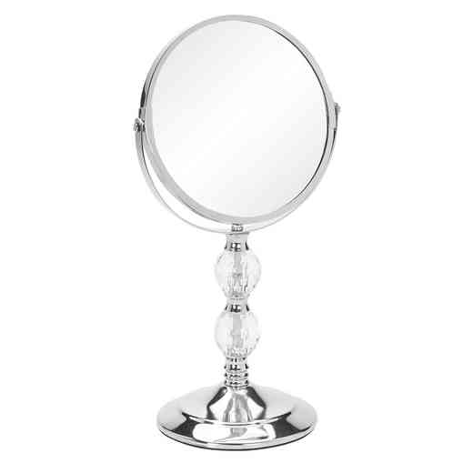 "22754-CHR : KEN  7""VANITY STANDUP DOUBLE CRYSTAL MIRROR - Chrome"