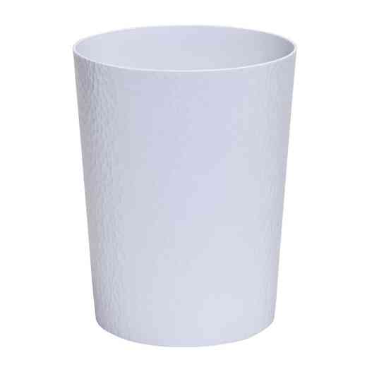 "22282-WHITE : KEN HAMMERED"" ROUND TRASH BIN- WHITE"