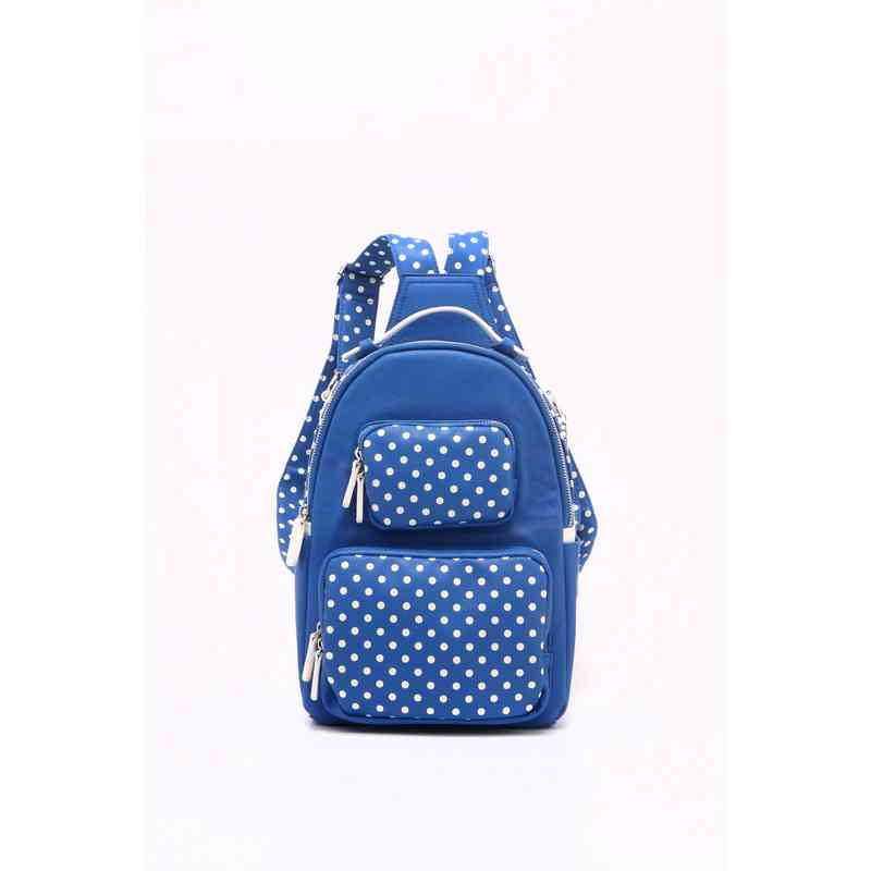 Women s Imperial Blue   White PU Waterproof Backpack Natalie Michelle Large  by SCORE! Designs cea8482dbabb8