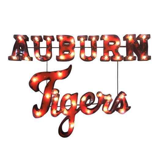 AUBURNTIGERSWDLGT: LRT Auburn Tigers Stacked Metal Décor Lighted