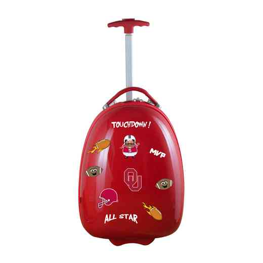 CLOUL601-RED: NCAA Oklahoma Sooners Kids Luggage Red