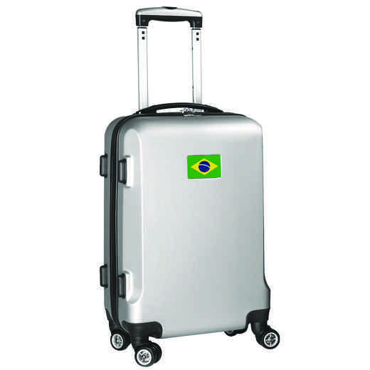 "FLBRL204-SILVER: Brazil Flag 21"" Carry-On Spinner Silver"