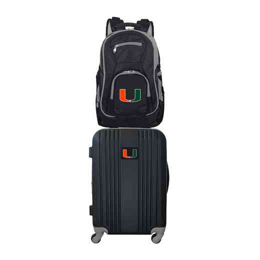 CLMUL108: NCAA Miami Hurricanes 2 PC ST Luggage / Backpack