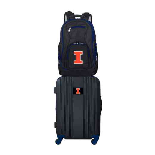 CLILL108: NCAA Illinois Fighting Illini 2 PC ST Luggage / Backpack