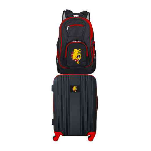 CLFEL108: NCAA Ferris State Bulldogs 2 PC ST Luggage / Backpack