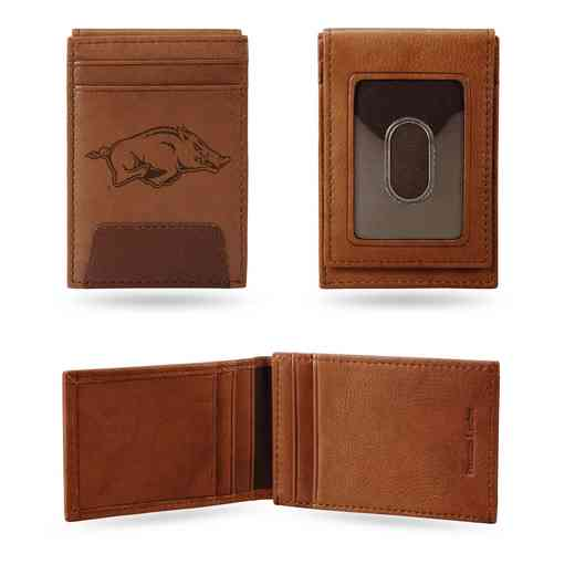 FPW360101: ARKANSAS UNIVERSITY PREMIUM LEATHER FRONT POCKET WALLET