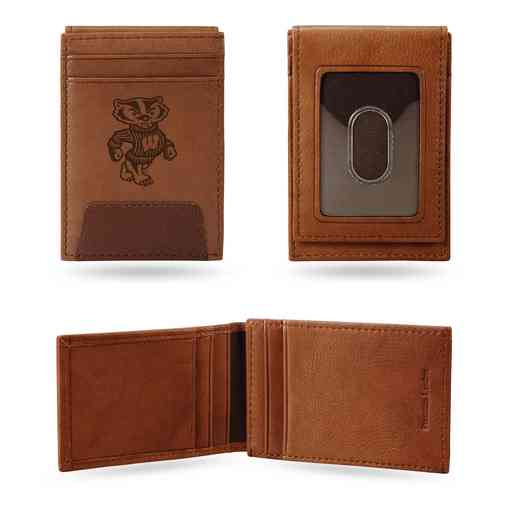 FPW450101: WISCONSIN UNIVERSITY PREMIUM LEATHER FRONT POCKET WALLET