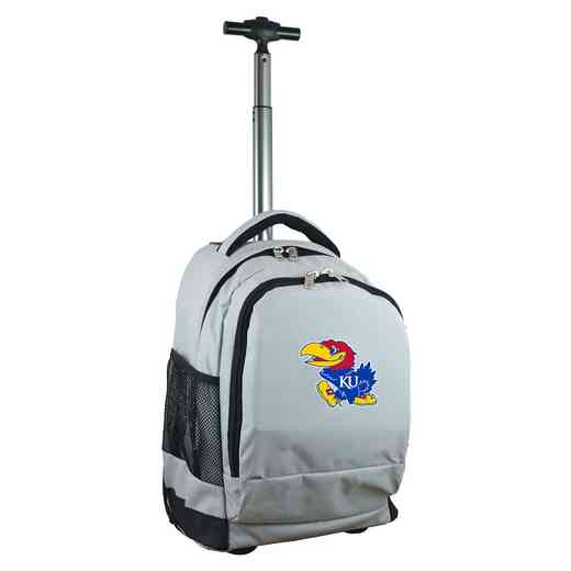 CLKUL780-GY: NCAA Kansas Jayhawks Wheeled Premium Backpack