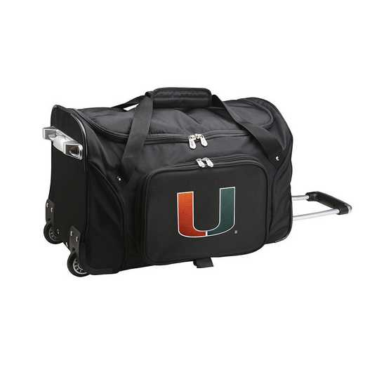 CLMUL401: NCAA Miami Hurricanes 22IN WHLD Duffel Nylon Bag