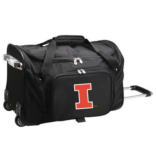 CLILL401: NCAA Illinois Fighting Illini 22IN WHLD Duffel Nylon Bag