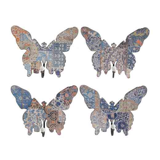 35324: AB S/4 VINTAGE BLUE BUTTERFLY HOOKS-LG