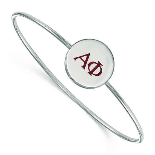 SS023APH-8: StrlngSlvr LogoArt Alpha Phi Enameled Slip-on Bangle