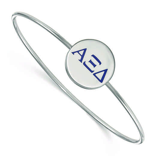 SS023AXD-8: StrlngSlvr LogoArt Alpha Xi Delta Enameled Slip-on Bangle