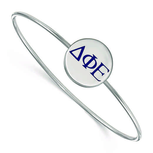 SS023DPH-8: StrlngSlvr LogoArt Delta Phi Epsilon Enameled Slip-on Bangle