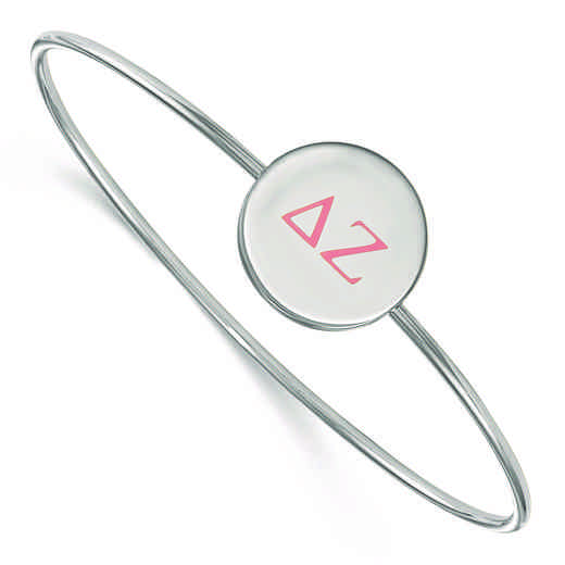 SS023DZ-8: StrlngSlvr LogoArt Delta Zeta Enameled Slip-on Bangle