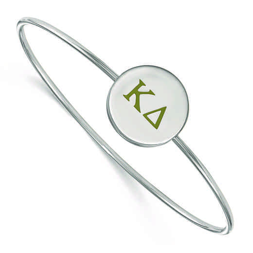 SS023KD-7: StrlngSlvr LogoArt Kappa Delta Enameled Slip-on Bangle
