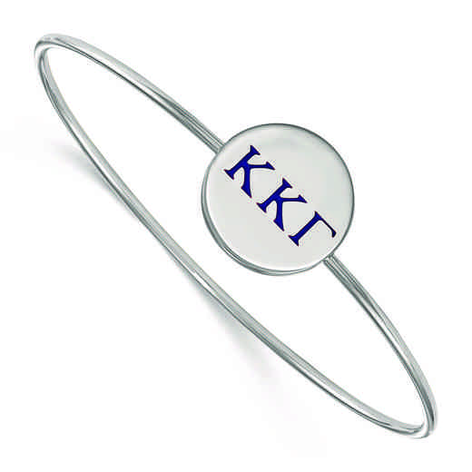 SS023KKG-8: StrlngSlvr LogoArt Kappa Kappa Gamma Enameled Slip-on Bangle