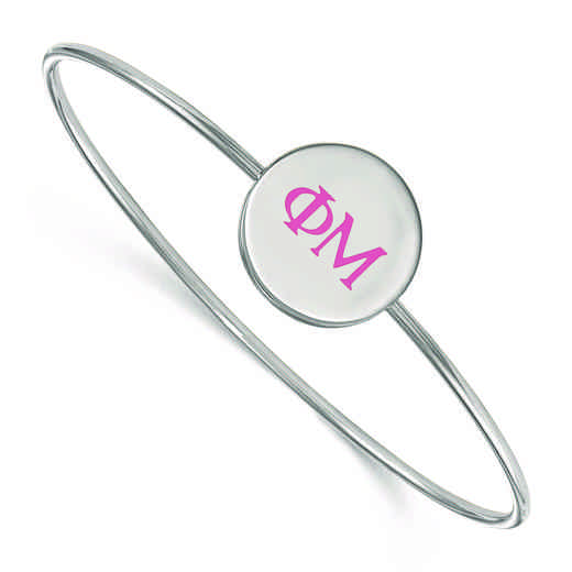 SS023PHM-7: StrlngSlvr LogoArt Phi Mu Enameled Slip-on Bangle