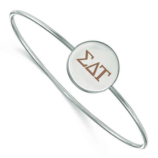 SS023SDT-7: StrlngSlvr LogoArt Sigma Delta Tau Enameled Slip-on Bangle