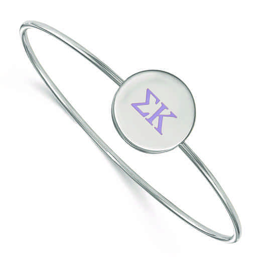 SS023SKP-8: StrlngSlvr LogoArt Sigma Kappa Enameled Slip-on Bangle