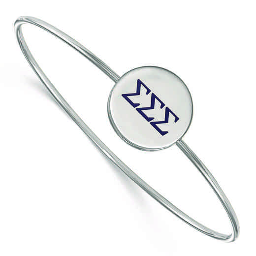 SS023SSS-7: StrlngSlvr LogoArt Sigma Sigma Sigma Enameled Slip-on Bangle