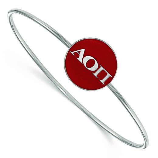 SS024AOP-8: StrlngSlvr LogoArt Alpha Omicron Pi Enameled Slip-on Bangle