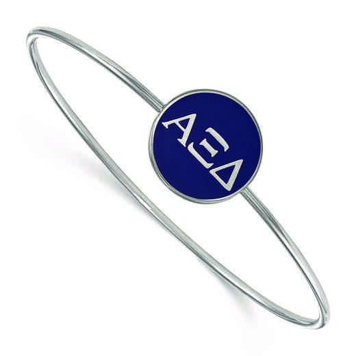 SS024AXD-8: StrlngSlvr LogoArt Alpha Xi Delta Enameled Slip-on Bangle