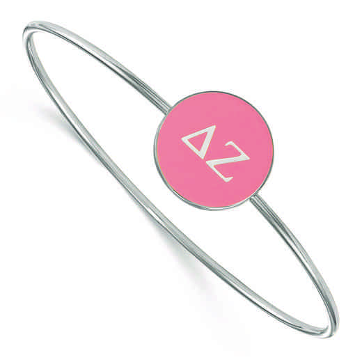 SS024DZ-7: StrlngSlvr LogoArt Delta Zeta Enameled Slip-on Bangle