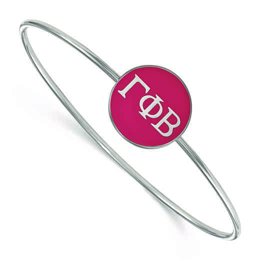 SS024GPB-7: StrlngSlvr LogoArt Gamma Phi Beta Enameled Slip-on Bangle