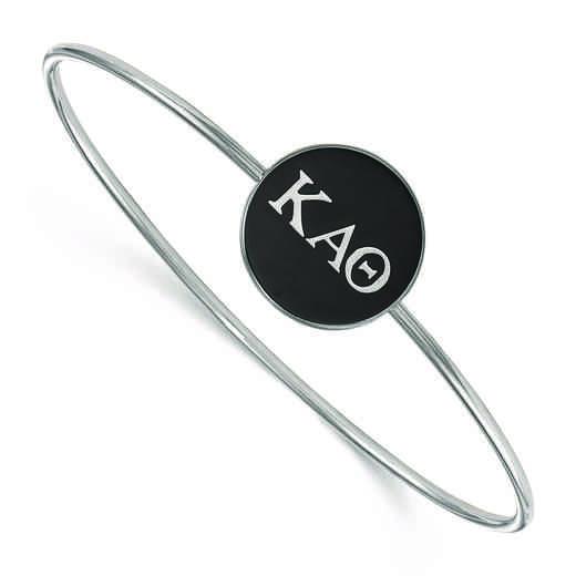 SS024KAT-8: StrlngSlvr LogoArt Kappa Alpha Theta Enameled Slip-on Bangle