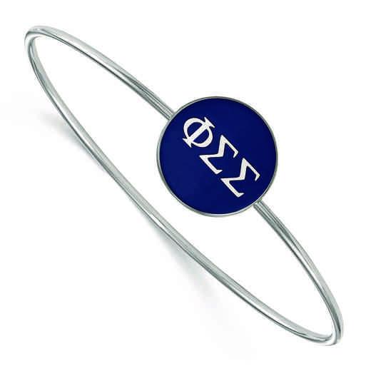 SS024PSS-8: StrlngSlvr LogoArt Phi Sigma Sigma Enameled Slip-on Bangle
