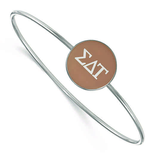 SS024SDT-8: StrlngSlvr LogoArt Sigma Delta Tau Enameled Slip-on Bangle